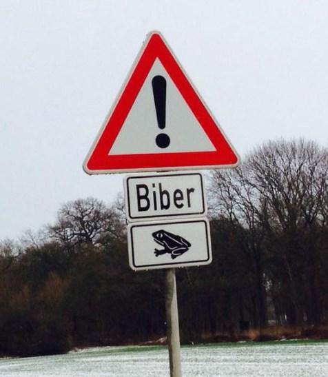 Biber Warnschild
