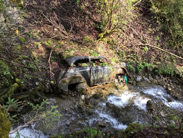 Auto in der Bachböschung