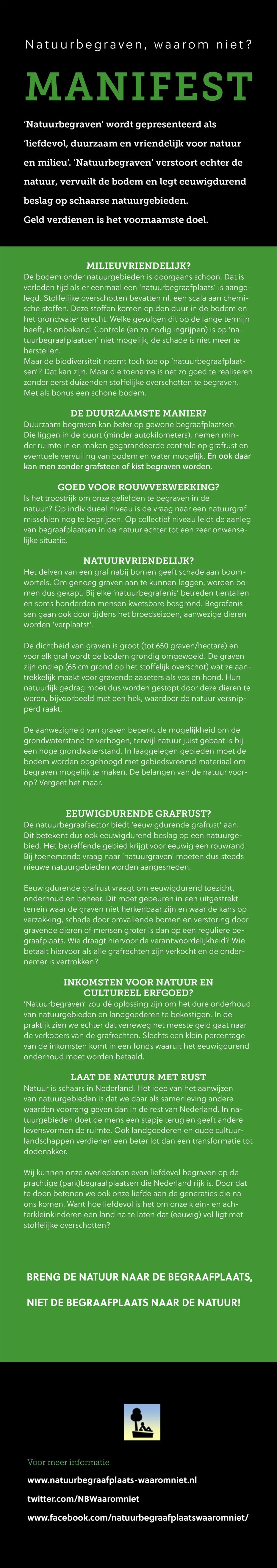 Manifest tegen begraven in de natuur februari 2018 Natuurbegraafplaats-waaromniet.nl