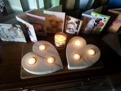 Waxinelichthouder van Steigerhout Love-set met brandend theelicht