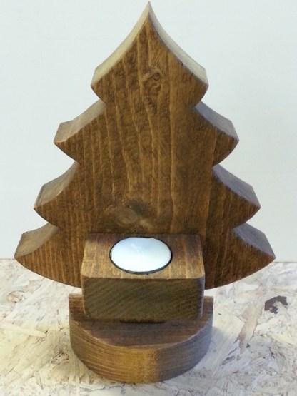 Kerstboompje van Steigerhout Waxinelichthouder in Old-Brown