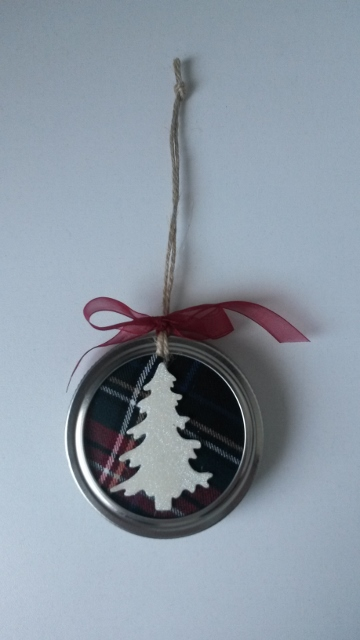 Kerstboomhanger Mason Jar met afbeelding kerstboom