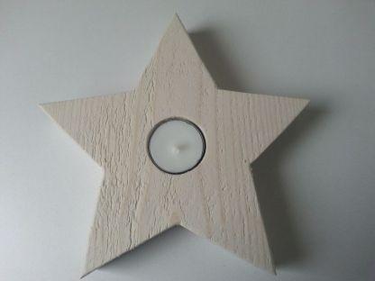 Waxinelichthouder Kerstster Maxi van Steigerhout in white-wash