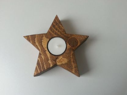 Waxinelichthouder Kerstster Mini van Steigerhout in Old-Brown