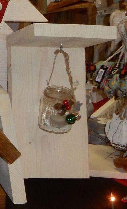 Kerstlantaarn van Sieneke in Wandlantaarn van Steigerhout