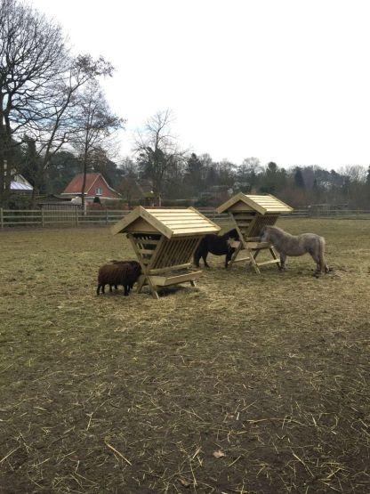 Hooiruif voor ponys en paarden naast de hooiruif voor geiten en schapen