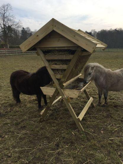 Hooiruif voor ponys en paarden met 2 ponys erbij