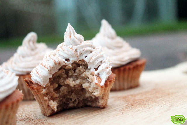 Spiced Apple Cupcakes with Sweet Coconut Frosting