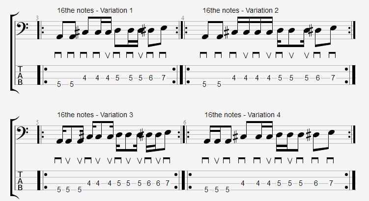 16th Blues Bassline Variations