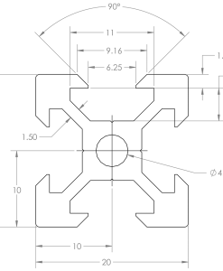 Guía lineal OpenBuilds V-Slot 20x20mm, Natytec.