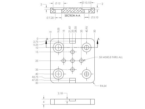 Placa V Mini guia Lineal V-Slot C-Beam CI-Beam Mini V gantry plate, Natytec.