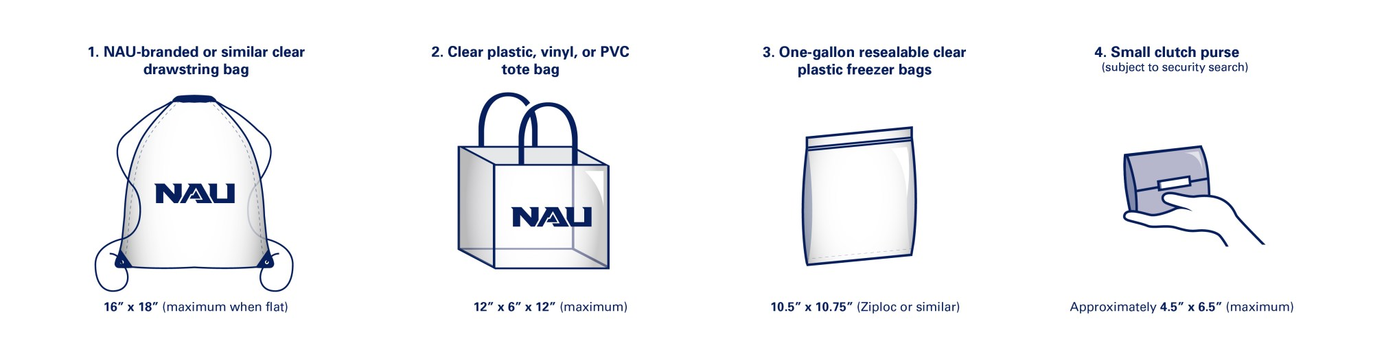 hight resolution of nau branded or similar clear drawstring bags no larger than 16 x