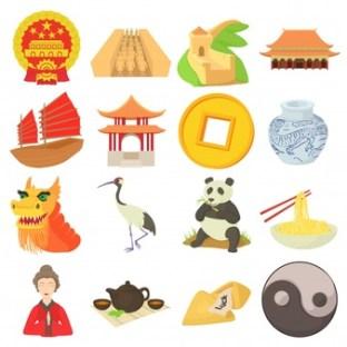 Китайски език, китайски символи, панда, дракон, ин и ян, жерав, клечки за хранене