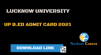 Download UP B.Ed Admit card 2021
