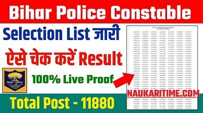 CSBC Bihar Police Constable Main Result 2021 | Final Result Selection Marit List 2021