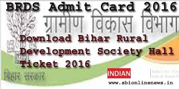 BRDS Admit Card 2016