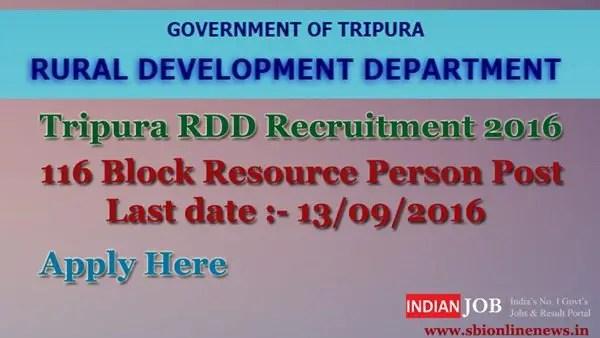 Tripura RDD Recruitment 2016