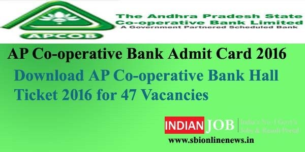 AP Co-operative Bank Admit Card 2016