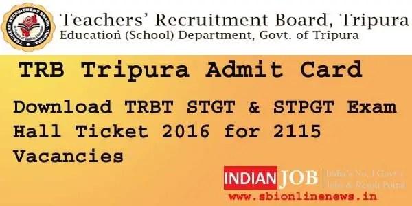 TRB Tripura Admit Card 2016