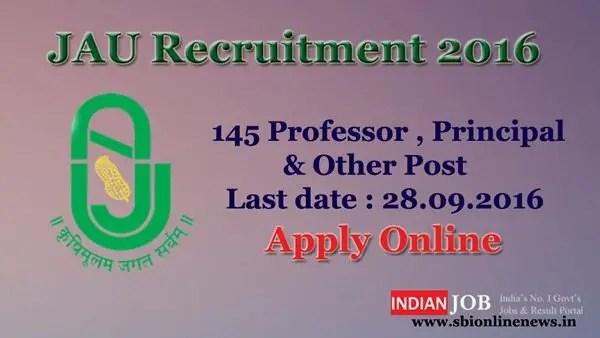 JAU Recruitment 2016