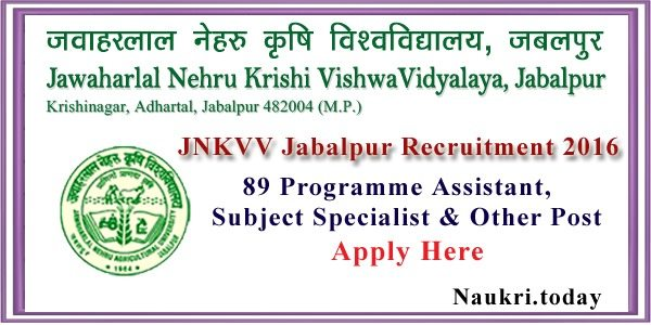JNKVV Jabalpur Recruitment 2016
