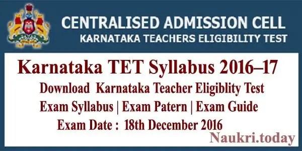 Karnataka TET Syllabus 2016–17