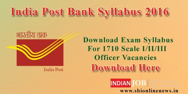India Post Bank Syllabus 2016