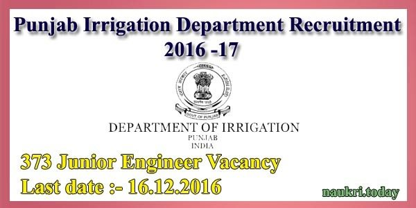 Punjab Irrigation Department Recruitment 2016