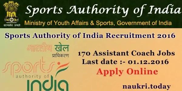 Sports Authority of India Recruitment 2016