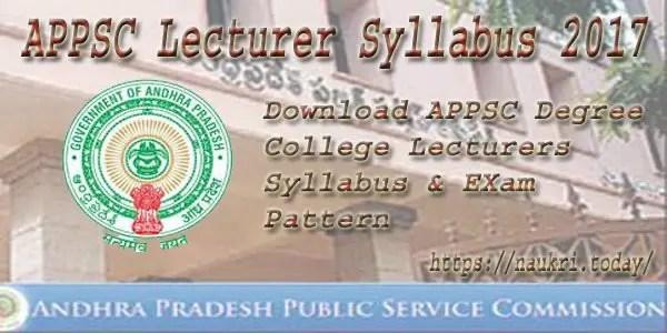 APPSC Lecturer Syllabus 2017