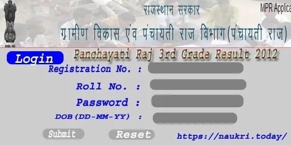 Panchayati Raj 3rd Grade Result 2012
