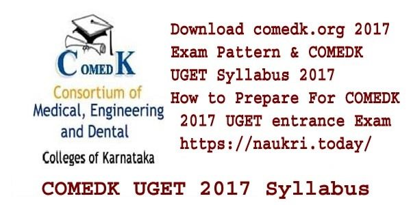 COMEDK UGET 2017 Syllabus