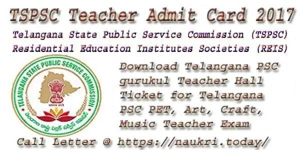 TSPSC Teacher Admit card 2017