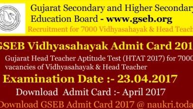 GSEB Head Teacher Admit Card 2017