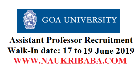 GOA UNIVERSITY ASSISTANT PROFESSOR RECRUITMENT-2019-APPLY-SOON