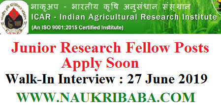 JUNIOR RESEARCH FELLOW recruitment vacancy 2019 APPLY SOON