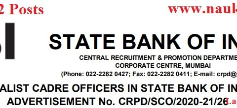Apply for SBI Vacancy of Specialist Officer, Total- 452 Posts, Last Date- 11th January 2021