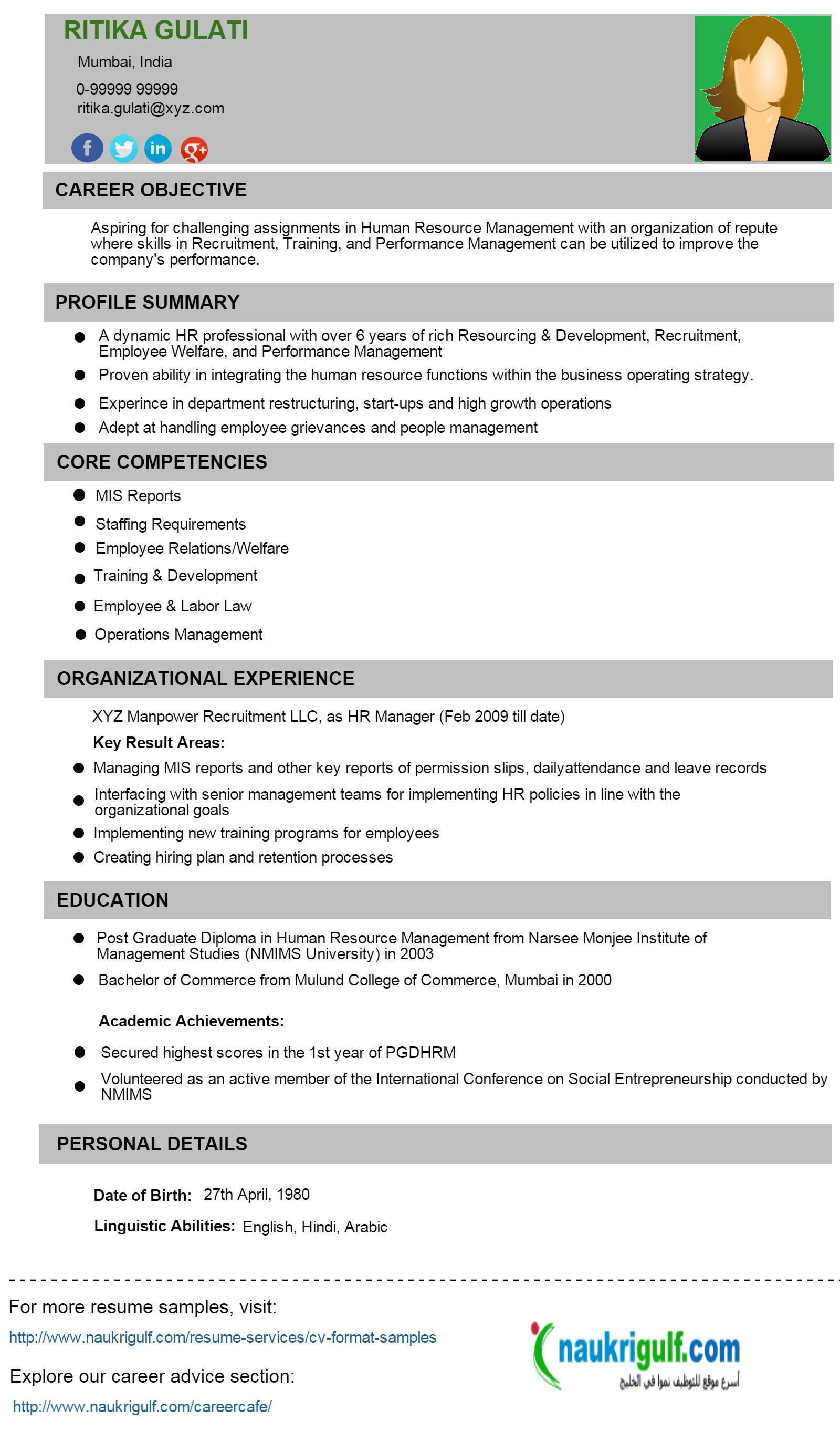 Www Resume Com Format How To Write Hr Resume Hr Cv Format And Sample Naukrigulf