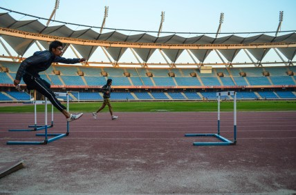 Hurdle race training not only for athletes but also for children of all groups.