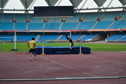 Vijay a state level athlete practices High jump for an upcoming event.