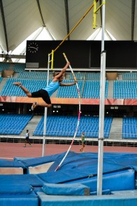 Poll vault training by national level athletes.
