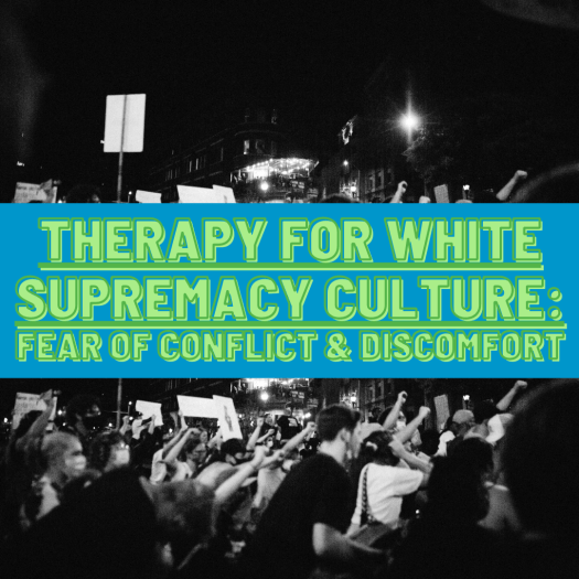 A large crowd of protesters gathers at night carrying signs. White supremacy culture teaches us to be afraid of conflict.