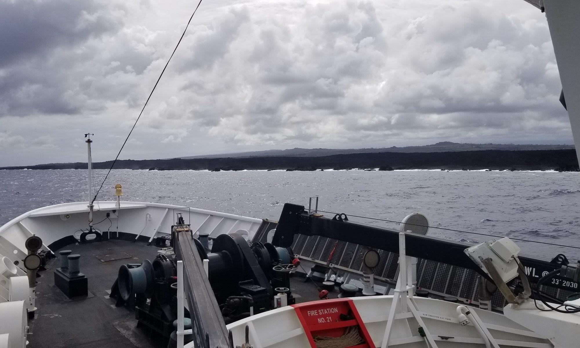 Rainier collects multibeam sonar data along Puna Coast on the Big Island of Hawaii.