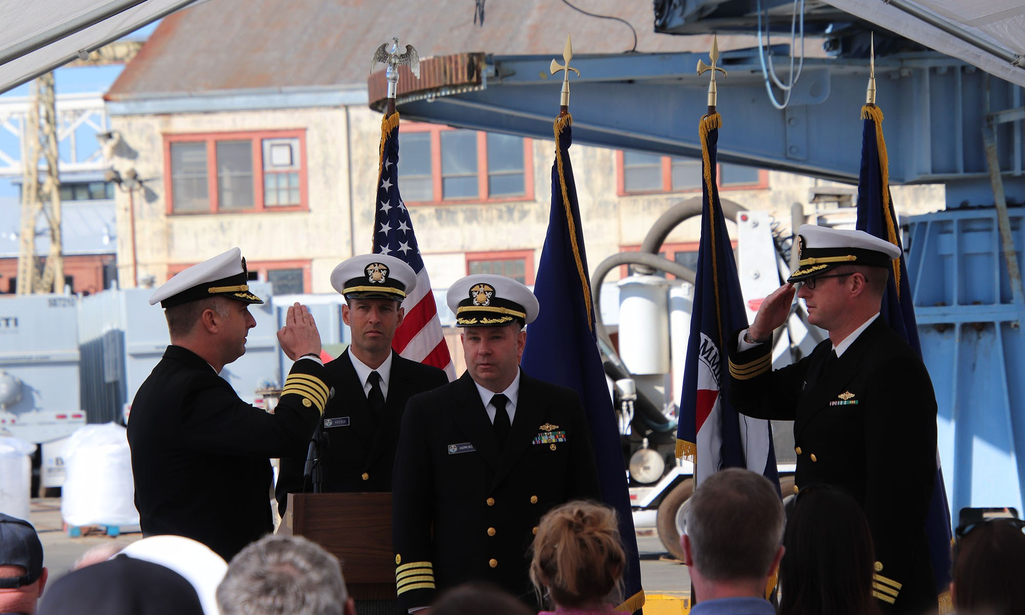 Lt. Cmdr. Justin Keesee, NOAA Ship Rainier executive officer and Capt. Michael Hopkins lead the change of command in Valejo, California.