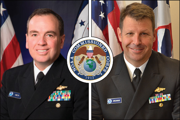 Photo shows an official portrait of RDML (ret.) Smith on the left and an official portrait of RDML Brennan on the right with a NOAA Commissioned Corp logo in the middle