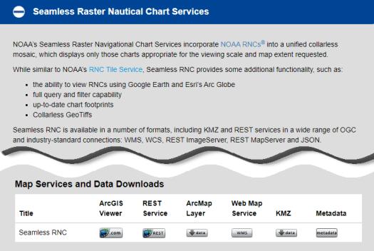 Seamless Raster Nautical Chart Services download menu screen shot