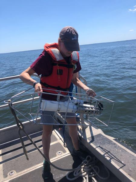 Taking the cage out of the water after lowering it to the bottom, about seven meters down in that area of the bay.