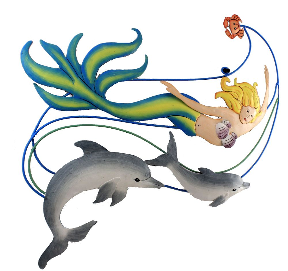 "22"" Metal Mermaid and Dolphin Wall Scene"