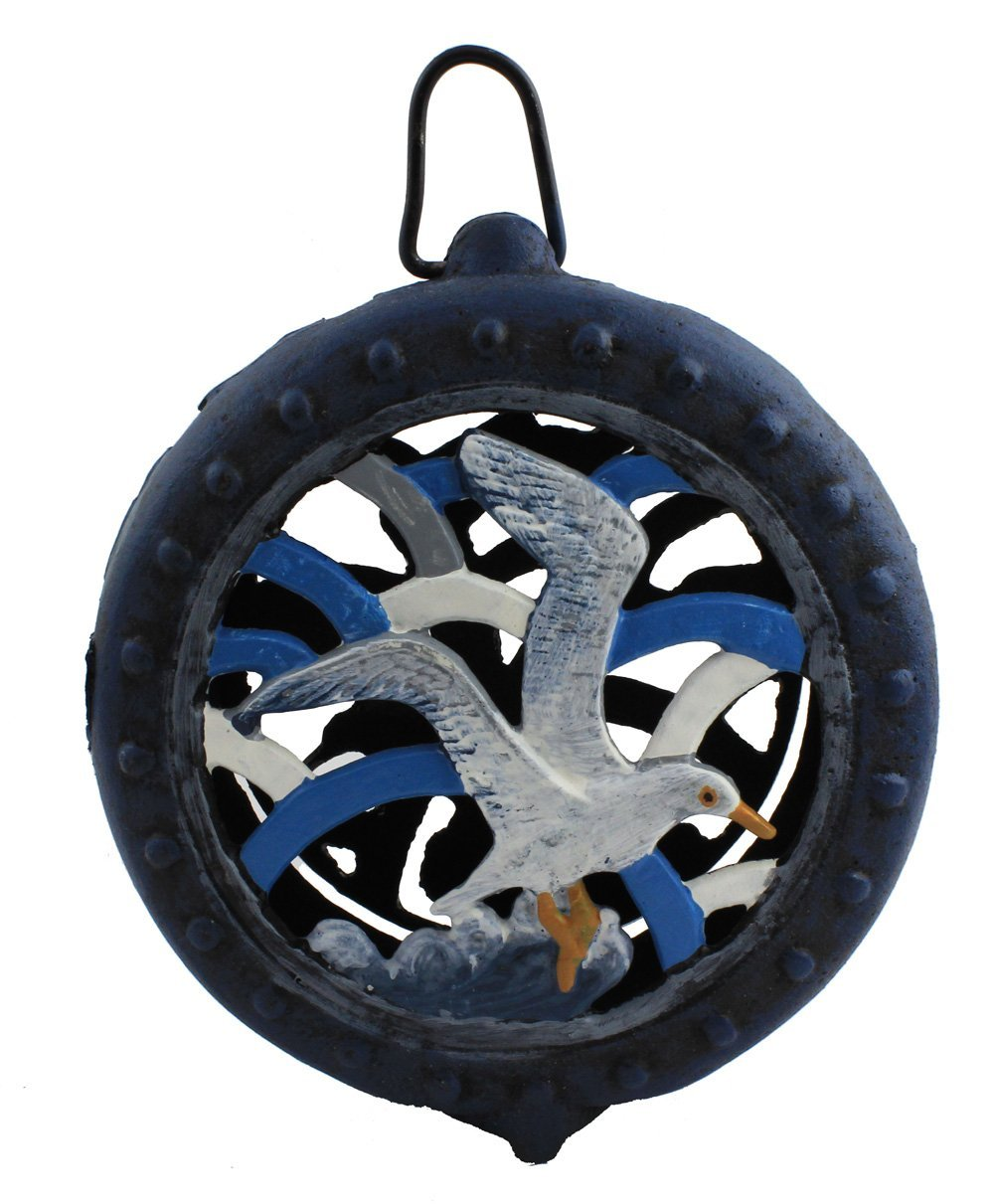 "8.75"" Cast Iron Blue Seagull Lantern"