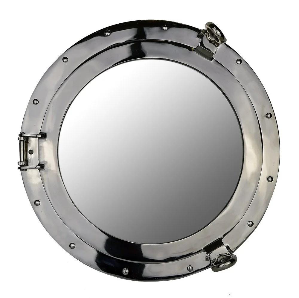 "20/""Dia Silver Leaf Finish Ships Porthole Mirror No Dog Ears Wall Mount Round"
